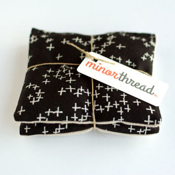 Organic Lavender Sachets in Natural Linen and Black Plus Symbol Fabric Set of 2 Lavender Scented Pillow