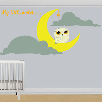 Vinyl Wall Decal Little Owlet Sitting On The Crescent Moon with Hanging Star & Two Clouds / Art Decor Home Sticker + Free Random Decal Gift!
