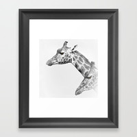 Two Giraffes Framed Art Print by Linsey Williams Art