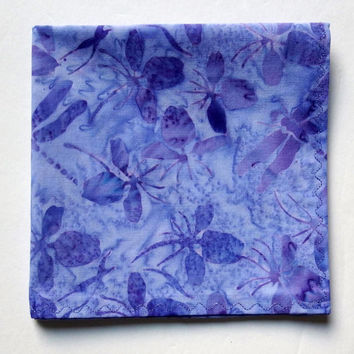 "Lavender Dragonfly Hanky / Dragonfly Pocket Square / Lavender Wedding Hankies / Lavender Handkerchief / 12"" Square / Lavender Easter Hankies"