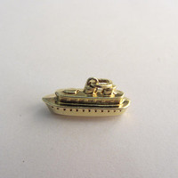 14k Gold Hollow Detailed 3D Cruiser Ship Ferry Boat Charm Pendant