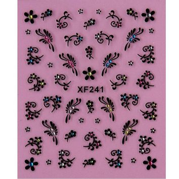 black 3D flower design Water Transfer Nails Art Sticker decals lady women manicure tools Nail Wraps Decals XF241