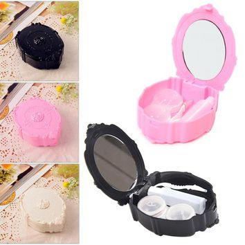 100% Brand New Mini European Retro Style Rose Flower Contact Lenses Contact Lens Case Box With Small Bottle Lens Holder Hot