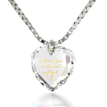 """I Love You to the Moon and Back"", 14k White Gold Necklace, Swarovski"