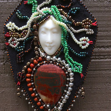 Bead Art Pendant - MEDUSA - Bead Embroidery Wearable Art Necklace - Picasso Jasper Sterling Silver Snake - Genuine Leather