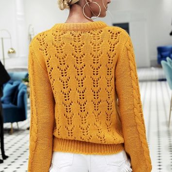 Hollowed Out Knitted Sweater
