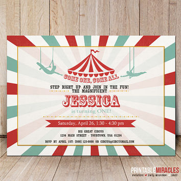 Circus invitation / Printable circus birthday invitations / Digital circus party invite / Kids circus birthday