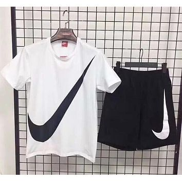 Nike Classic Popular Men Loose Big Logo Print Short Sleeve Top Shorts Sport Two-Piece White I12953-1