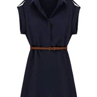 Cadetblue Turn Down Collar Mini Dress