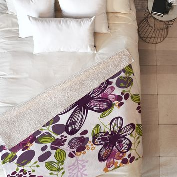 Natalie Baca Floral In Plum Fleece Throw Blanket