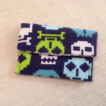 Digital Skulls Pocket Wallet Blue Flannel Easy to Carry Compact Size for Cards and Cash Fits in Your pocket