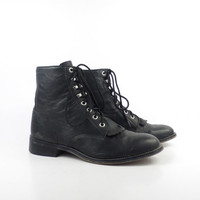 Roper Boots Vintage 1980s Justin Leather  Black Granny Lace up Packer men's size 3 1/2 Women's size 5