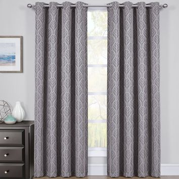 Gray Set of 2 Hilton Blackout Curtain Panels Jacquard Thermal Insulated Pairs