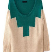 Color Block Round Neck Beige Sweater  S002663