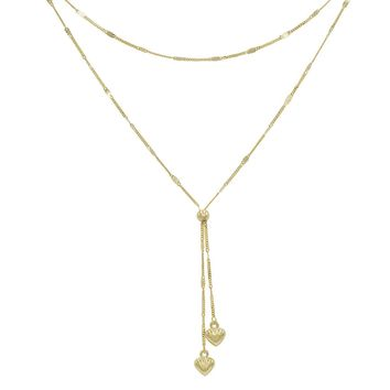 Amanda Rose Heart Layered Lariat Necklace in 14k Yellow Gold (17 Inch)