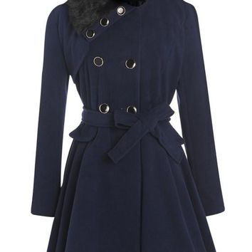Navy Blue Sashes Pleated Double Breasted Peplum Long Sleeve Faux Fur Wool Coat