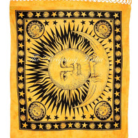 Sun Moon Wall Tapestry Indian Bedding Cotton Bed Sheet Queen Bed Size Handmade Screen Printing Yellow and Black Tie & Dye 3176