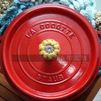 Decorative Crochet Pot Knob Cover [Set of 2] with Wool Yarn, can be used as Le Creuset or Staub accessory