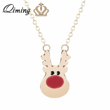 QIMING Winter Christmas Day Gift Lovely Gold Deer Necklace Red Nose Deers Head Silver Animal Necklace Cute Jewelry Accessories