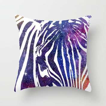 Galaxy Zebra Throw Pillow by Miss L In Art