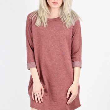 Brushed Fabric 3/4 Sleeve Tunic Dress {Brick}