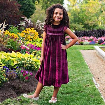Magnolia Plum Purple Velvet Smock Dress - Toddlers & Girls