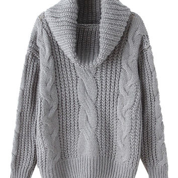 Gray High Neck Chunky Cable Long Sleeve Knit Sweater