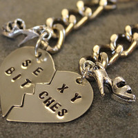Hand Stamped Sexy Bitches Keychains - Split Heart Set of Keychains - BFF Key chains - Best Friend Gift
