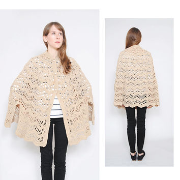 Beige Crochet Cape Vintage 1960s Handmade Lace Knit Capelet 60s Knitted Jacket