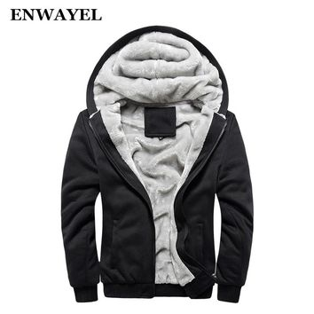 ENWAYEL Autumn Winter Male Jakcket Moleton Velvet Hoodie Casual Men Jacket Coat Warm Soft Male Moletom Mens Jackets Hooded