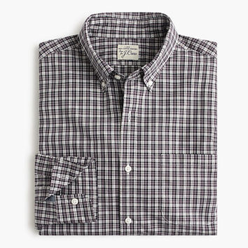 J.Crew Mens Slim Secret Wash Shirt In Eggplant Plaid