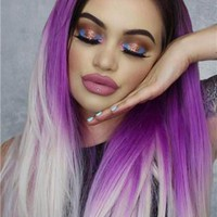 Long Fantasy Purple Blonde Ombre Synthetic Lace Front Wig