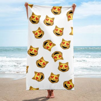 Cat With Heart Eyes Emoji Large Terry Cloth Beach Towel