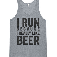 i run because i really like beer athletic workout tank top shirt
