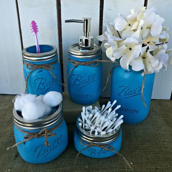 Mason Jar Bathroom Vanity Set / Set of 5 Jars / Turquoise Painted Mason Jars