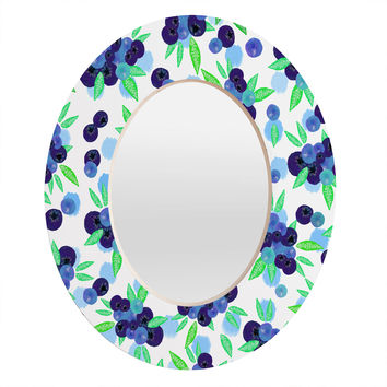 Lisa Argyropoulos Blueberries And Dots On White Oval Mirror