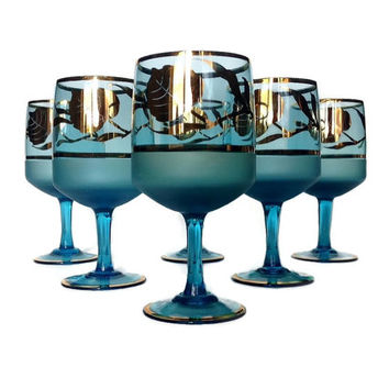 Mid Century Wine Glasses, Blue, Gold, Sherry Glasses, Gold Leaf Pattern, Frosted Blue, Set of Six