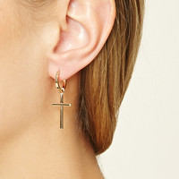 Cross Mini Hoops