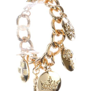 Gold Crown Charm Bracelet