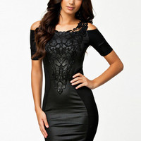 Black Shoulder Cut-Out Lace Short Sleeve Bodycon Mini Dress