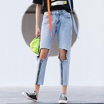 2017 new brand name clothing ripped destroy big hole women zippers long ankel-length overalls loose denim jeans pants balmaied