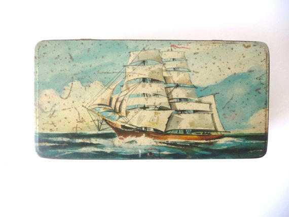 Vintage navy tin can metal cookies box from portuguese for Fish box for boat
