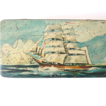 Vintage Navy Tin Can, Metal Cookies Box, Blue, Boat, Sailing, Sea Creatures, Fish