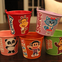Set of 5 Colorful Julius Jr. Tin Pails Party Favor Containers-2-Sided!