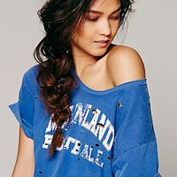 Free People Womens Destroyed Graphic Boyfriend Tee