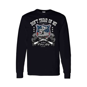 Unisex Long Sleeve Shirt USA Flag Don't Tread on me Defend Liberty