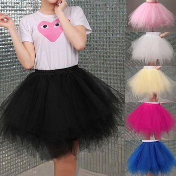 PEAPGC3 Tulle Skirts Womens High Quality Elastic Stretchy Tulle Teen Layers Summer Womens Adult Tutu Skirt  Pleated Mini Skirts