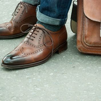 Wakeby Wolf Formal Brown Brogue Wingtip Shoes