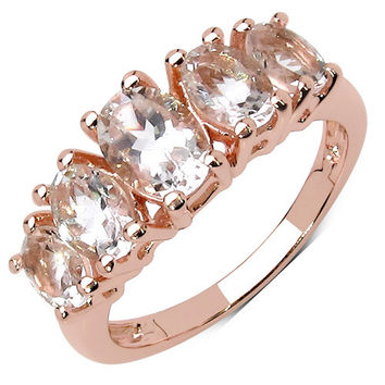 14K Rose Gold Plated 2.06 Carat Genuine Morganite .925 Sterling Silver Ring