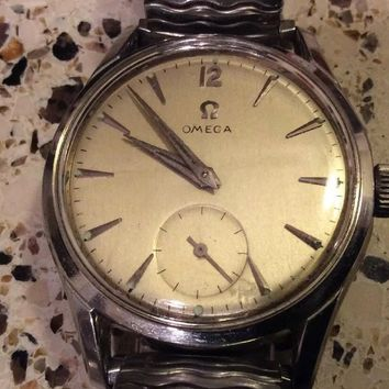 VINTAGE MENS OMEGA WRISTWATCH CALIBER 266 17 JEWELS STAINLESS STEEL c1953